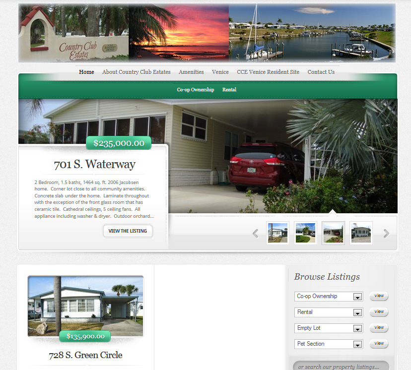 CountryClubEstatesVenice.com, a prestigious community offering sales and seasonal rentals in beautiful Venice, Florida. Visitors can search, sort and filter by home type.