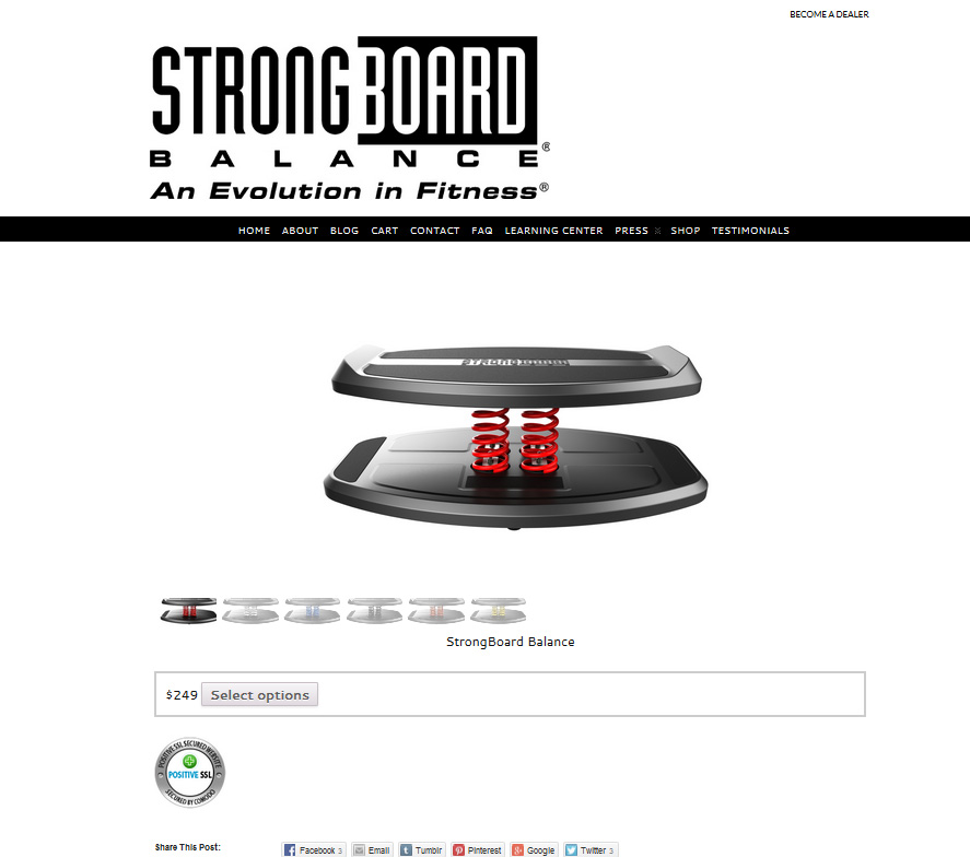 StrongBoardBalance.com offers revolutionary fitness equipment. They offer their products via a customized  shopping cart, with a product gallery that shows a 360 degree view.